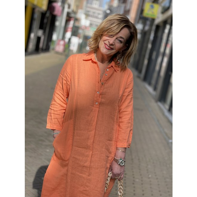 DRESS LINEN WITH POCKETS 17405-70 MELON 2104
