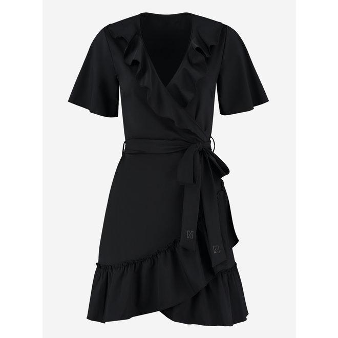 SUZY RUFFLE WRAP DRESS N5-166 2104 BLACK