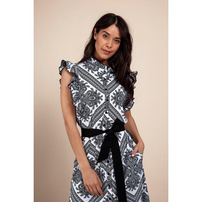 MICHELLE PAISLEY DRESS 05861 WHITE BLACK