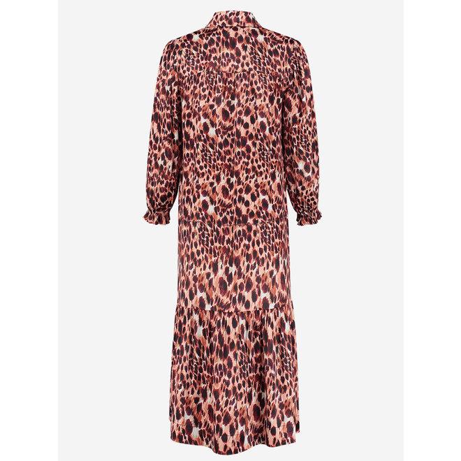 SARA MAXI PRINTED DRESS FH 5-224 2104 APRICOT PANTHER