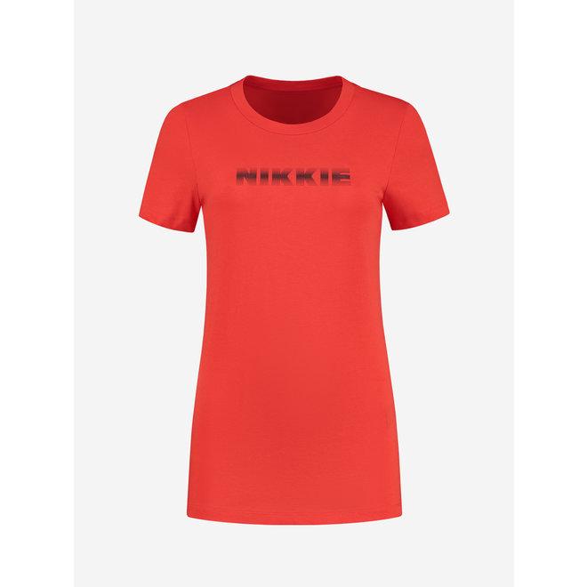 NIKKIE DOT LOGO T-SHIRT N 6-382 2105 FIERY RED