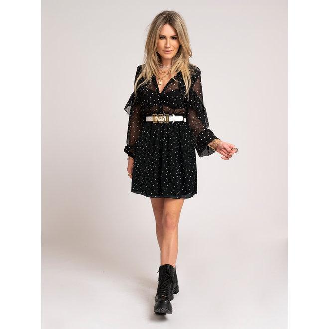 DOTTED RUFFLE DRESS N 5-310 2105 BLACK