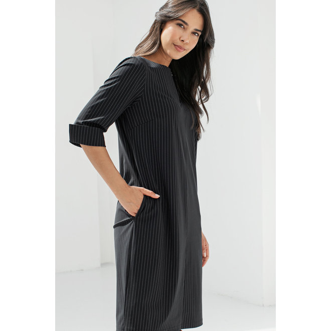 CARO PINSTRIPE DRESS 94750 BLACK/WHITE