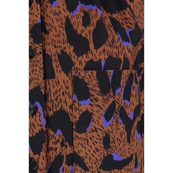 SICILY ANIMAL BLOUSE 06137 CARAMEL/BLACK