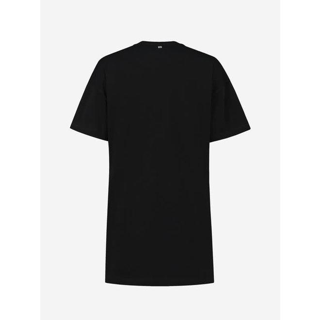NIKKIE LEOPARD LONG T-SHIRT N 6-385 2105 BLACK