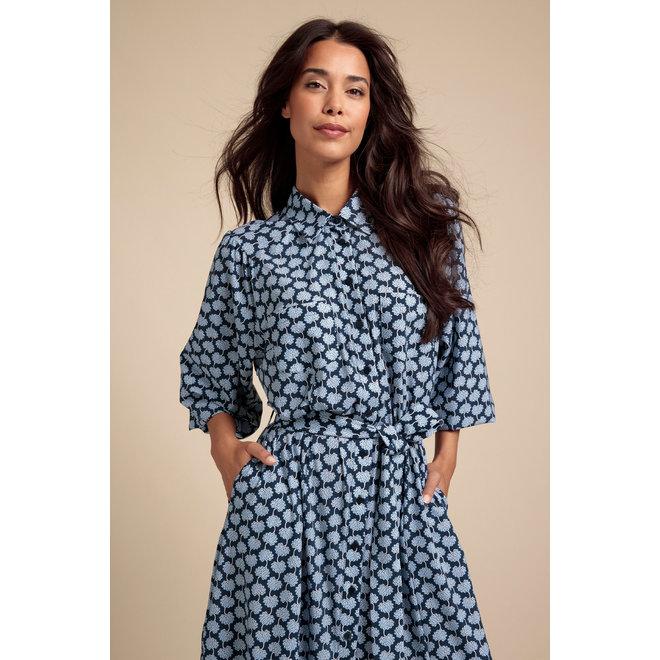 DIA FLOWER DRESS 06265 INDIGO/ICE BLUE