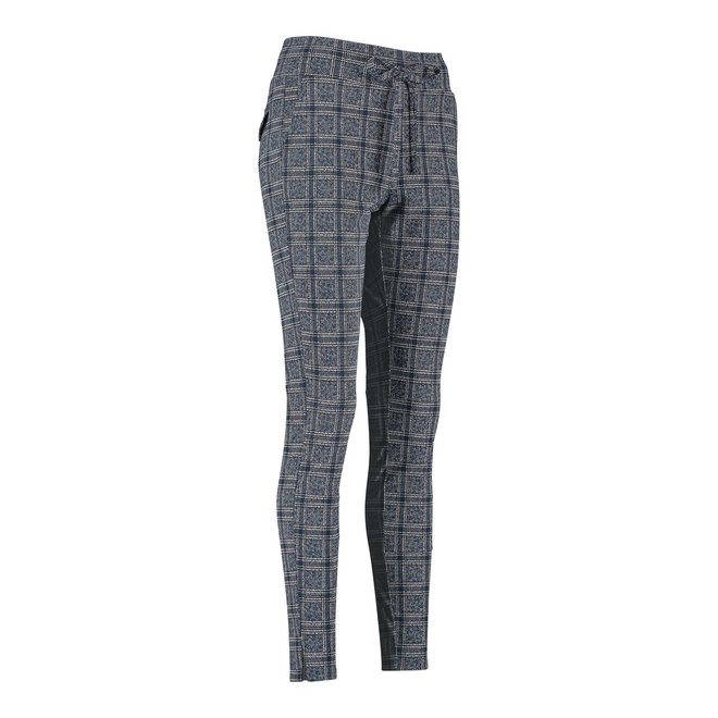 DOWNSTAIRS CHECK TROUSERS 06239 DARKBLUE/GREIGE
