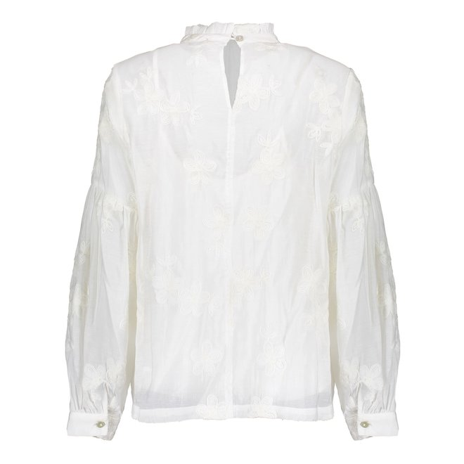 TOP CHIFFON FLOWERS L/S OFF WHITE 13858-26