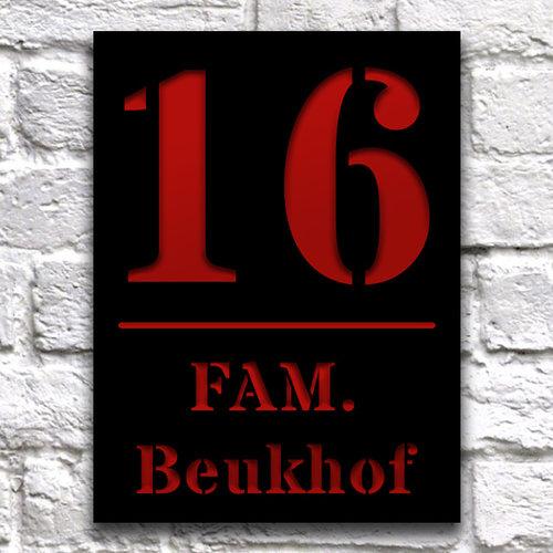 Huisnaambord ontwerpen 15x20 cm zwart staand