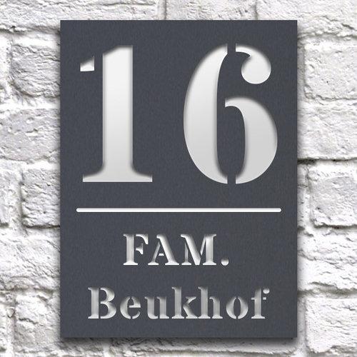 Huisnaambord 15 x 20 cm grijs staand