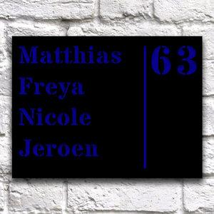 Huisnaambord 20 x 15 cm Zwart Liggend