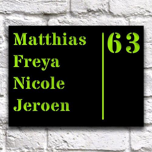 Huisnaambord ontwerpen 20 x 15 cm Zwart Liggend
