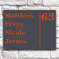 Huisnaambord 20 x 15 cm Grijs Liggend
