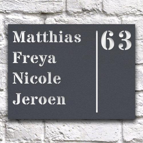 Huisnaambord ontwerpen 20 x 15 cm grijs liggend
