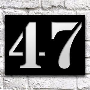 Huisnummerbord 20 x 15 cm zwart