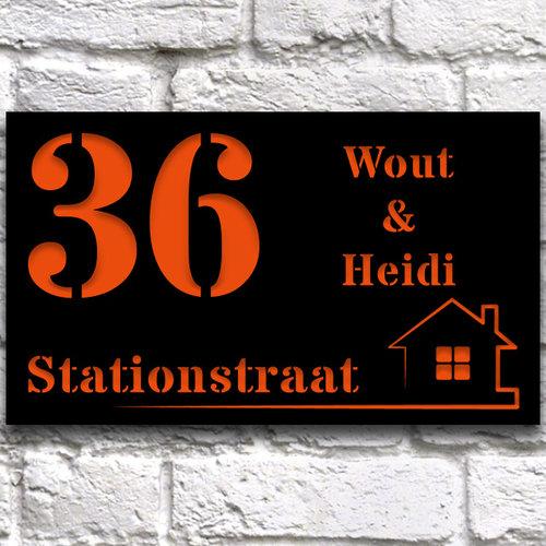 Luxe Huisnaambord ontwerpen 30 x 15 cm zwart