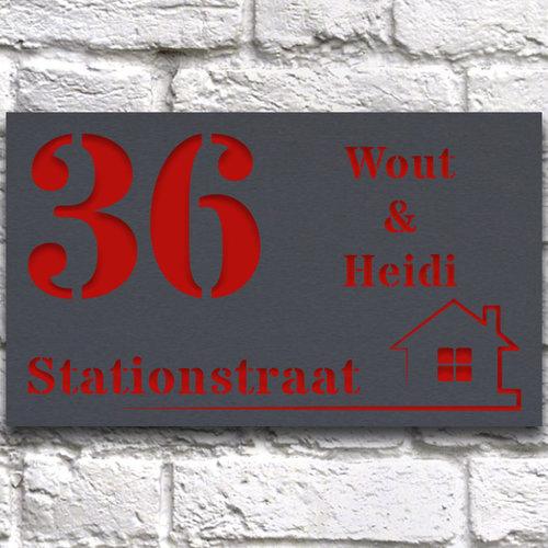 Luxe Huisnaambord ontwerpen 30 x 15 cm grijs