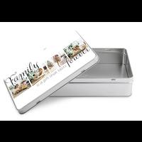 Tinnen doos rechthoek met foto's en illustraties 5 cm hoog