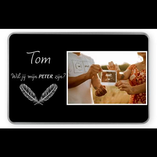 Gepersonaliseerde tinnen doos rechthoek met foto's en illustratie 5 cm hoog