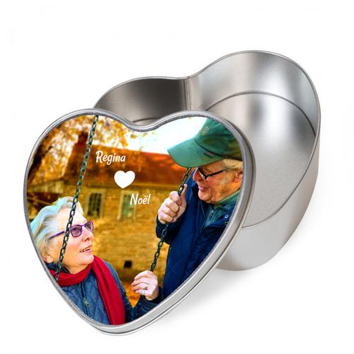 Gepersonaliseerde tinnen doos hartvormig met foto's en illustratie