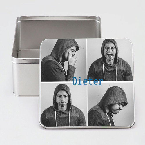 Gepersonaliseerde tinnen doos vierkant met foto's en illustratie
