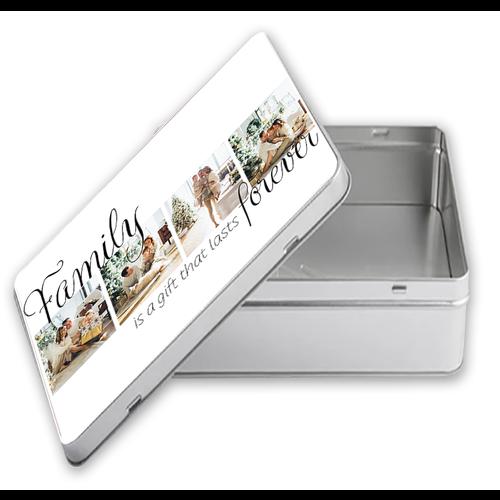 Tinnen doos rechthoek met foto's en illustraties 7 cm hoog