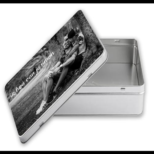 Gepersonaliseerde tinnen doos rechthoek met foto's en illustratie 7 cm hoog