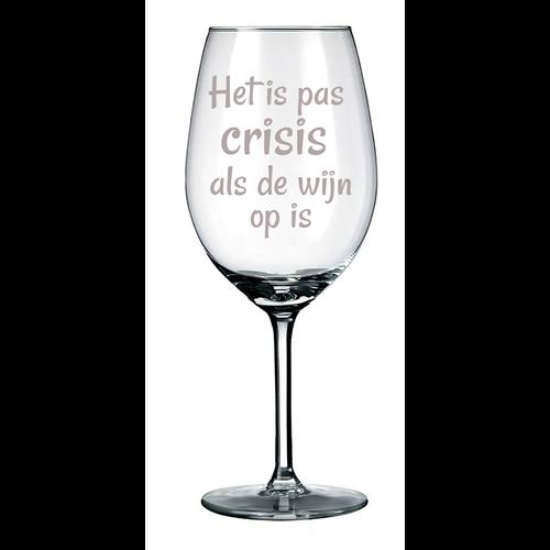 Rode wijnglas met naam, tekst of illustraties  gegraveerd