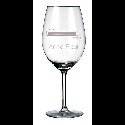Witte wijnglas met naam, tekst of illustraties  gegraveerd