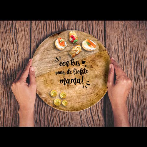 Rond mangohouten bord met gepersonaliseerde gravering