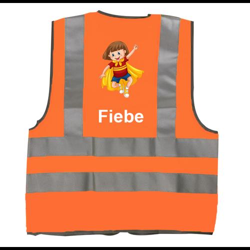 Gepersonaliseerd fluohesje voor kinderen met naam en kinderillustratie