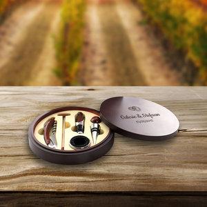 Gegraveerde luxe wijnset met persoonlijke boodschap