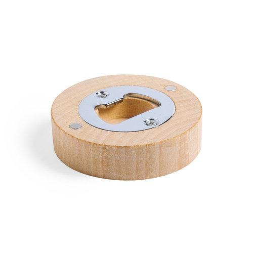Houten flesopener-magneet gegraveerd met naam of tekst