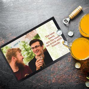 Bedrukte barmat met foto's, tekst en illustraties