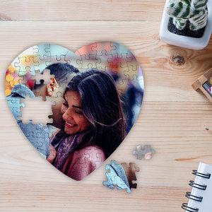 Hartvormige puzzel bedrukt met foto en tekst 75 stukjes