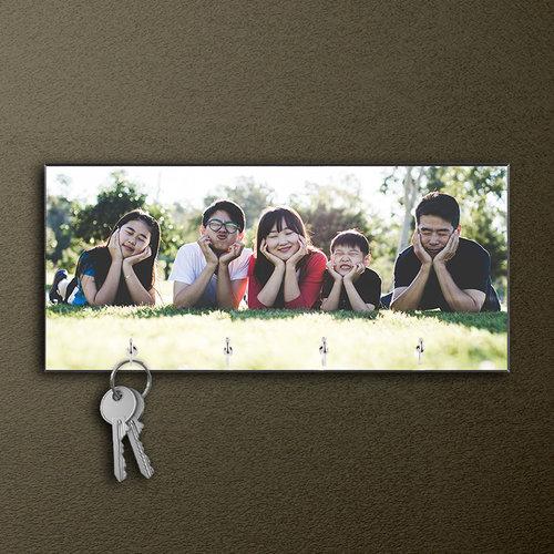 Bedrukt sleutelbord met foto en tekst