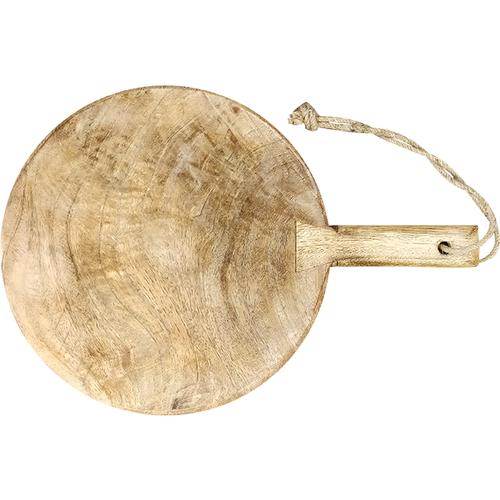 Ronde serveerplank rustiek mangohout met gepersonaliseerde gravering