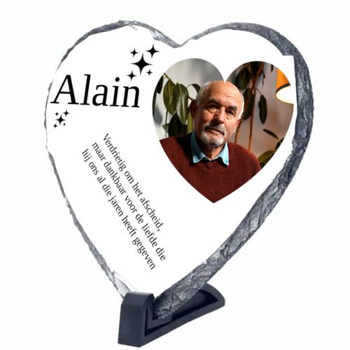 Gepersonaliseerde leisteen hartvormig met foto's tekst en illustraties