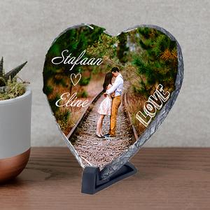 Leisteen hartvormig met foto's tekst en illustratie