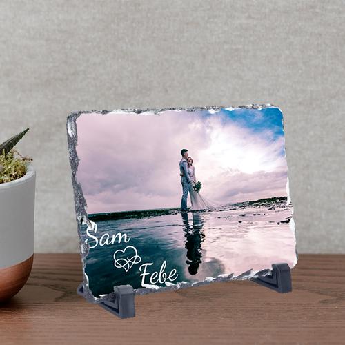Leisteen rechthoekig met foto's tekst en illustratie