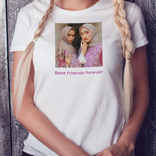 Dames T-shirt bedrukt met eigen ontwerp