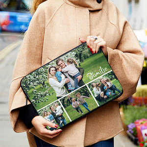 Laptop of tablet sleeve met foto's tekst en illustraties