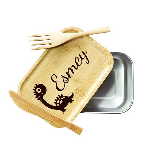 Lunchbox met gegraveerde tekst en illustratie