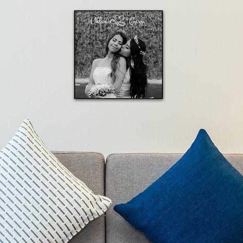 Houten fotopaneel bedrukt met foto en tekst 20 x 20