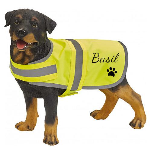 Fluo honden hesje met tekst en illustratie