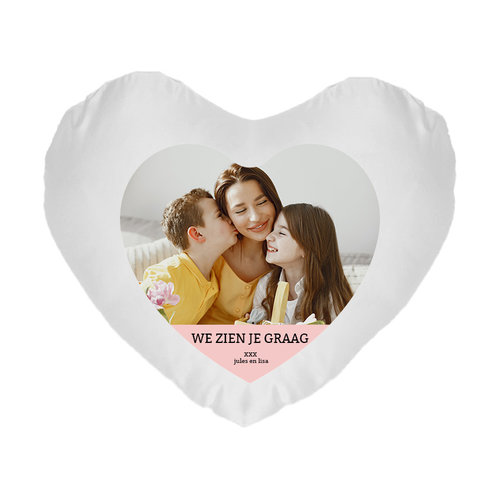 Hartvormig kussen bedrukt met foto en tekst
