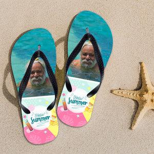 Slippers met foto tekst en illustratie