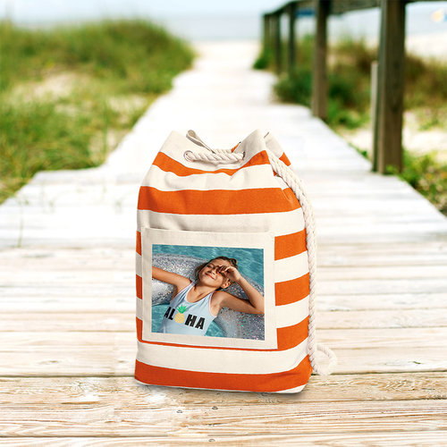 Beach bag bedrukt met foto, tekst en illustratie