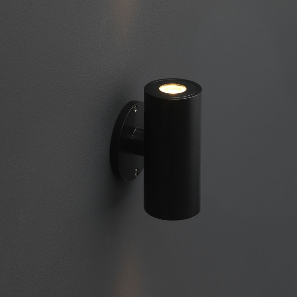 LED Wandspot zwart rond