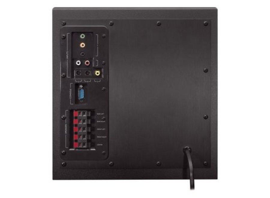 Audiokanäle: 5.1, Farbe: Schwarz, Schnittstellen: Toslink; Coaxial; Composite; 3,5 mm Klinke, Ausstattung: 3.5 mm Klinke; Fernbedienung, Kapazität Wattstunden: Keine Angaben